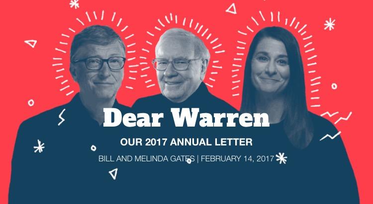 Buffet, Bill e Melinda Gates na Carta Anual divulgada pela Fundação do casal