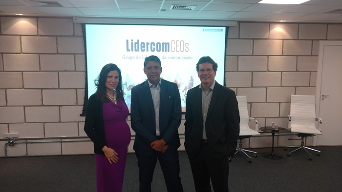 Olga Pontes, Hamilton dos Santos e Marcelo Lyra, no Lidercom CEOs da Aberje