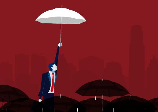 Ilustração: fundo vermelho com silhuetas de prédios. No primeiro plano estão vários guarda-chuvas pretos. Um homem de terno e gravata, flutua com um guarda-chuva branco, destacando-se da multidão.