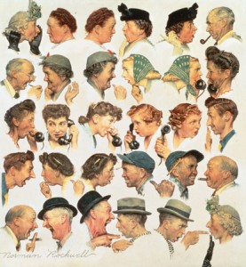 """Norman Rockwell (1894-1978), """"The Gossips,"""" 1948. Painting for """"The Saturday Evening Post"""" cover, March 6, 1948. Oil on canvas. Private collection. ©SEPS: Curtis Publishing, Indianapolis, IN"""